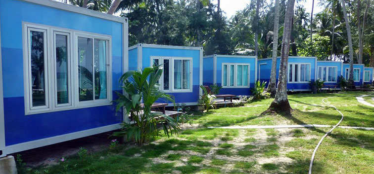 Beach Bungalows in a line
